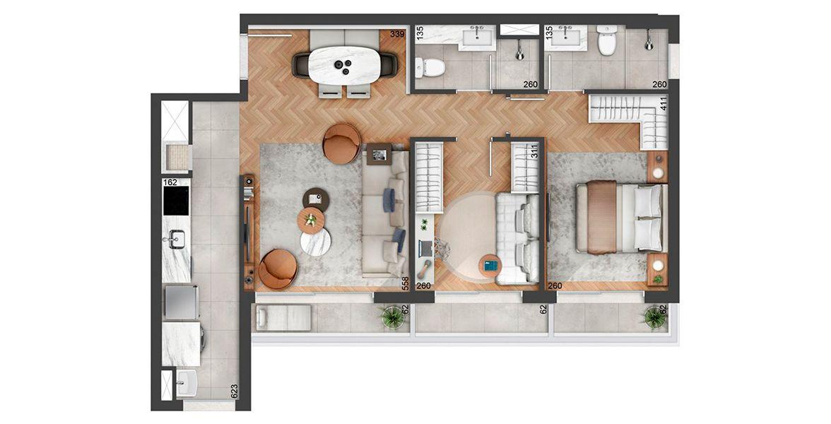 74 M² - 2 DORMITÓRIOS, SENDO 1 SUÍTE. Apartamento em Petrópolis, com churrasqueira na cozinha americana. Destaque para o terraço que se integra ao living e aos 2 dormitórios.