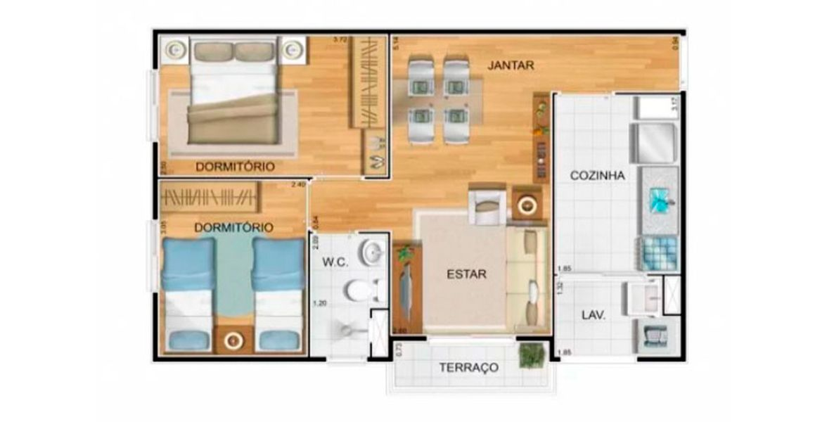 Planta do Space Residence - Parque das Orquídeas. floorplan