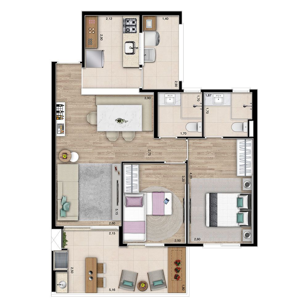 Planta do Tulum Bertioga Family Club. floorplan