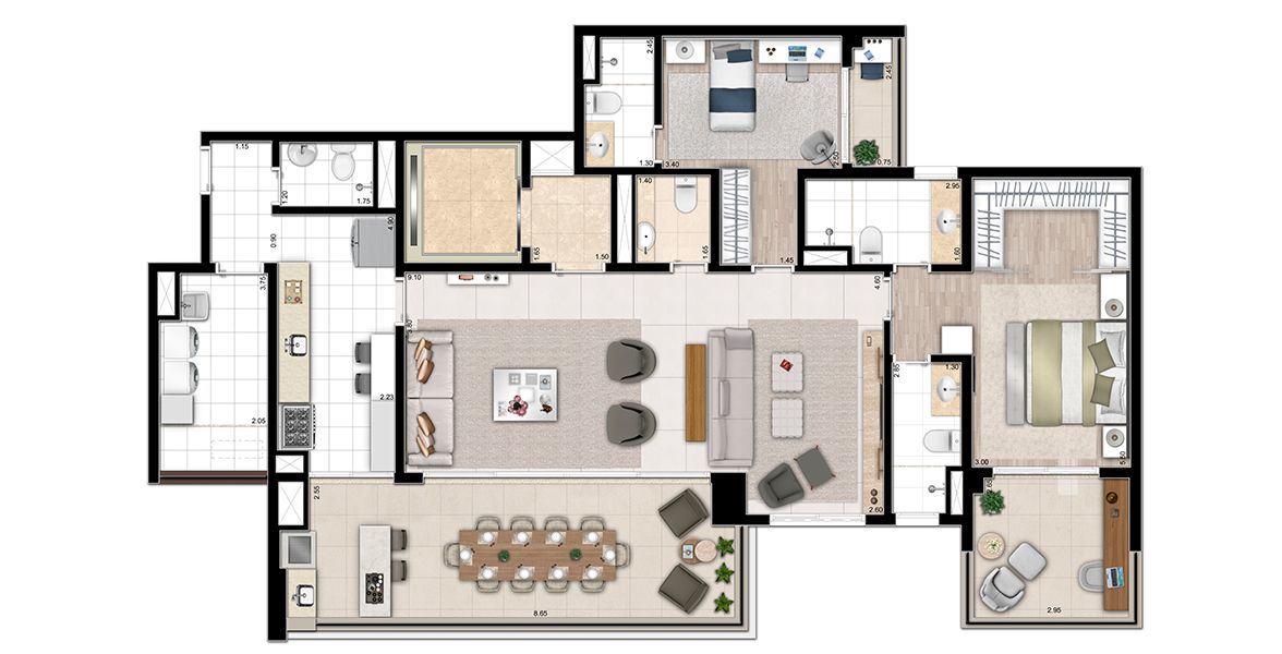 163 M² - 2 SUÍTES. Planta-opção living ampliado de 163,40m² privativos, final  2A, com sugestão de decoração. Os móveis e utensílios são de dimensões comerciais e não fazem parte do contrato. As medidas são internas e de face a face das paredes.