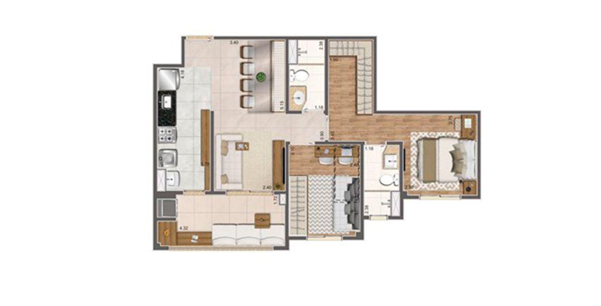 64 M² - 2 DORMITÓRIOS, SENDO 1 SUÍTE. Apartamentos de 2 dormitórios no Jardim Guanabara, com terraço gourmet entregue com churrasqueira integrado ao living. Destaque para os dormitórios entregues com piso laminado e infra para ar-condicionado.