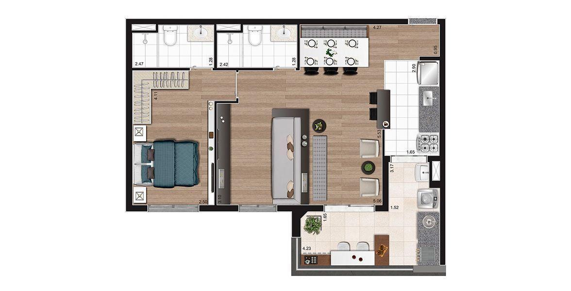 67 M² - 2 DORMITÓRIOS, SENDO 1 SUÍTE com terraço gourmet, opção living ampliado.
