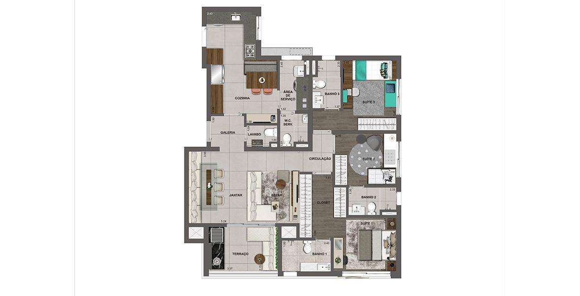 Planta do Insight Vila Leopoldina. floorplan