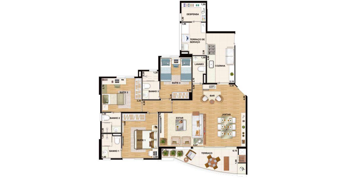 Planta do Winner Family Club. floorplan