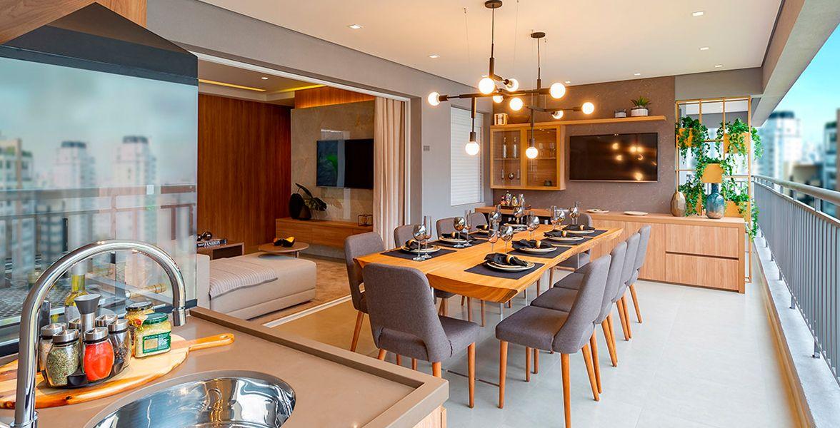 TERRAÇO gourmet com churrasqueira do apto decorado de 119 m².