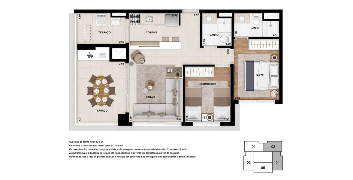 Planta do Gabell Jardins. floorplan