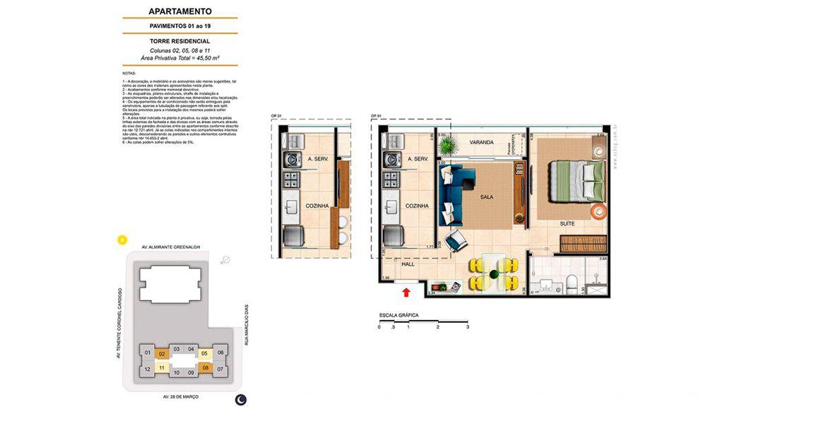 Planta do America Residence Service. 45 M² - 1 SUÍTE.
