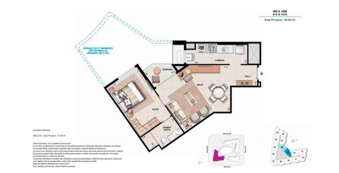 Planta do Union Square Residence. floorplan