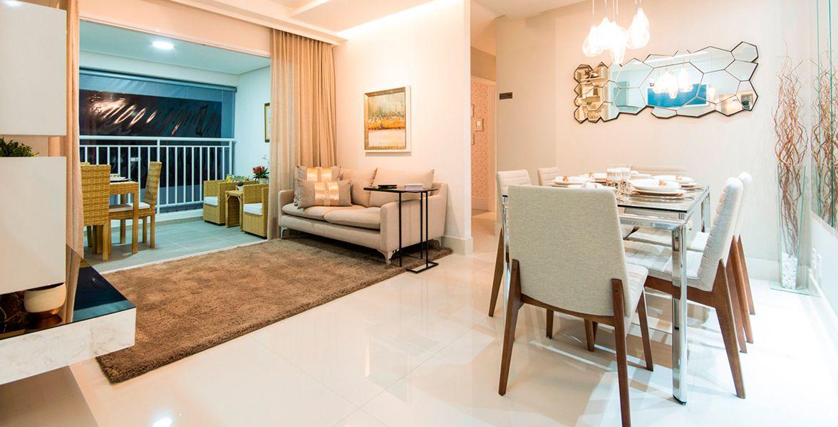 LIVING do apto decorado de 89 m²