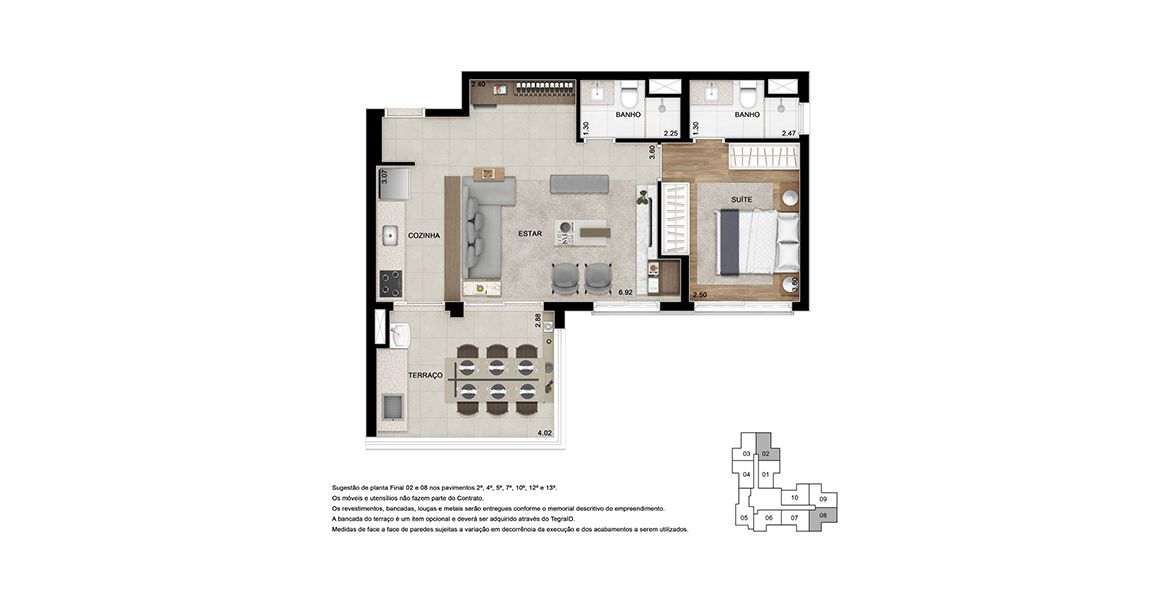 Planta do Key Moema. floorplan