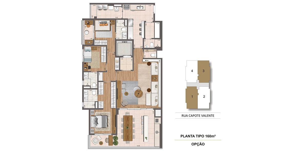 160 M² - 3 SUÍTES. Apartamentos com 3 suítes em Pinheiros, com destaque para área social, com living ampliado, com boca de sala de 5 metros, integrada ao terraço gourmet com churrasqueira.