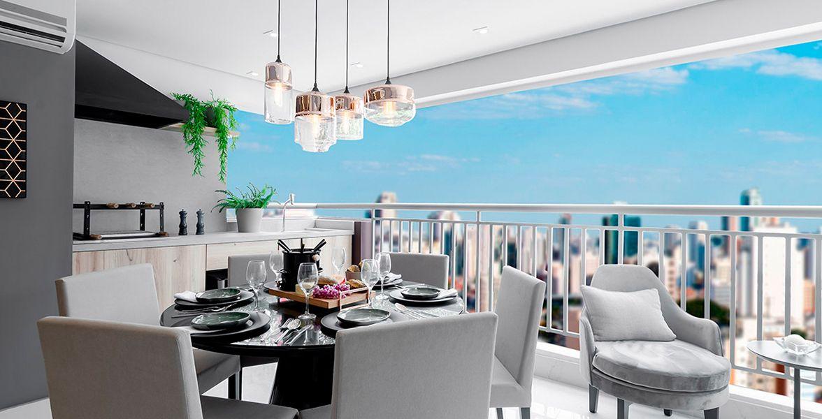 TERRAÇO gourmet com churrasqueira do apto decorado de 112 m².