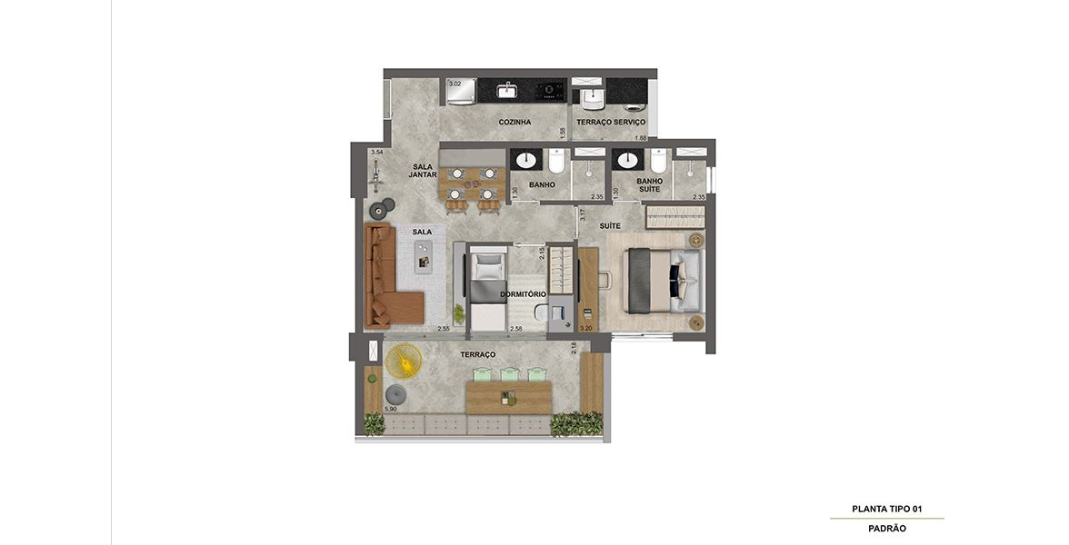 Planta do Ser Vila Madalena. floorplan