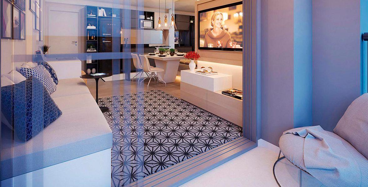 LIVING E TERRAÇO do apto de 49 m²