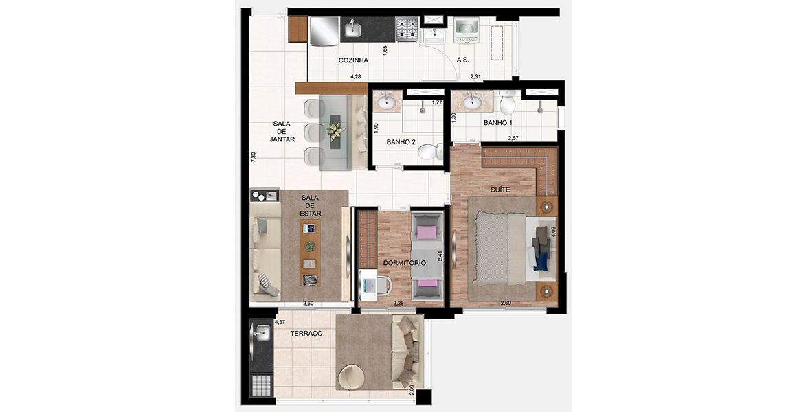 Planta do In Design Liberdade. floorplan