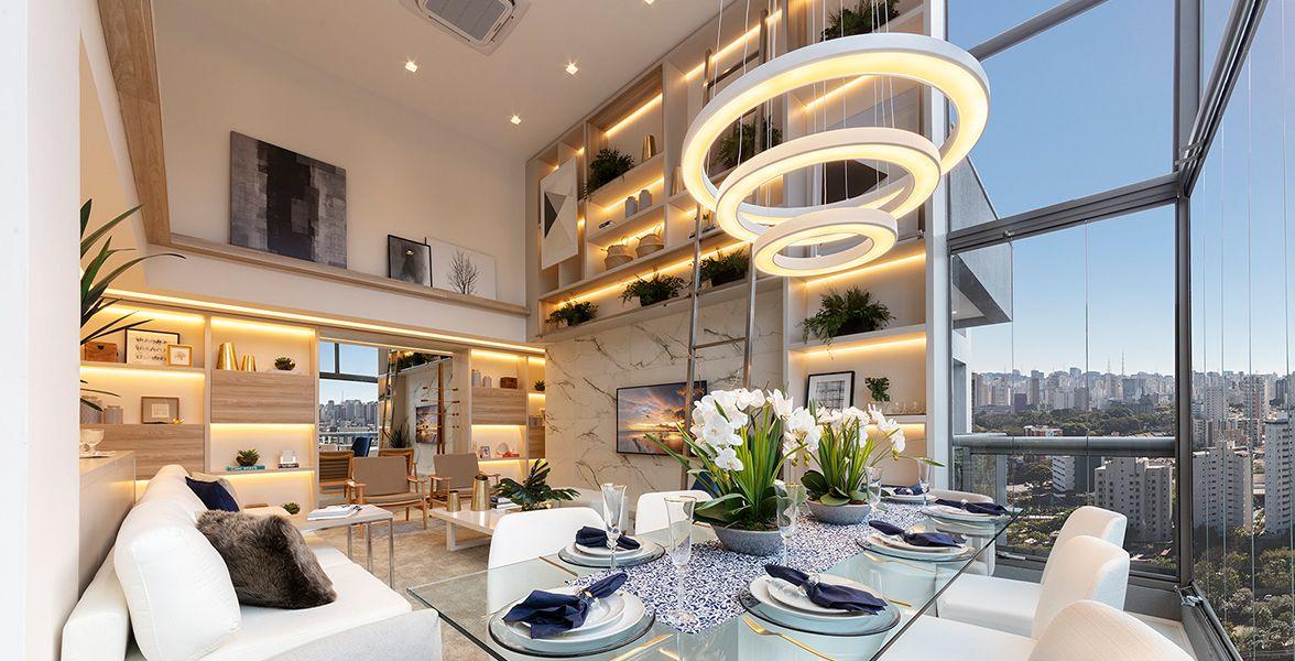 LIVING do apto decorado de 93 m².