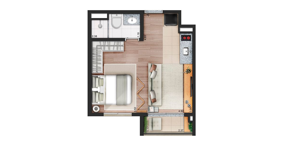 Planta do Living For Consolação. floorplan
