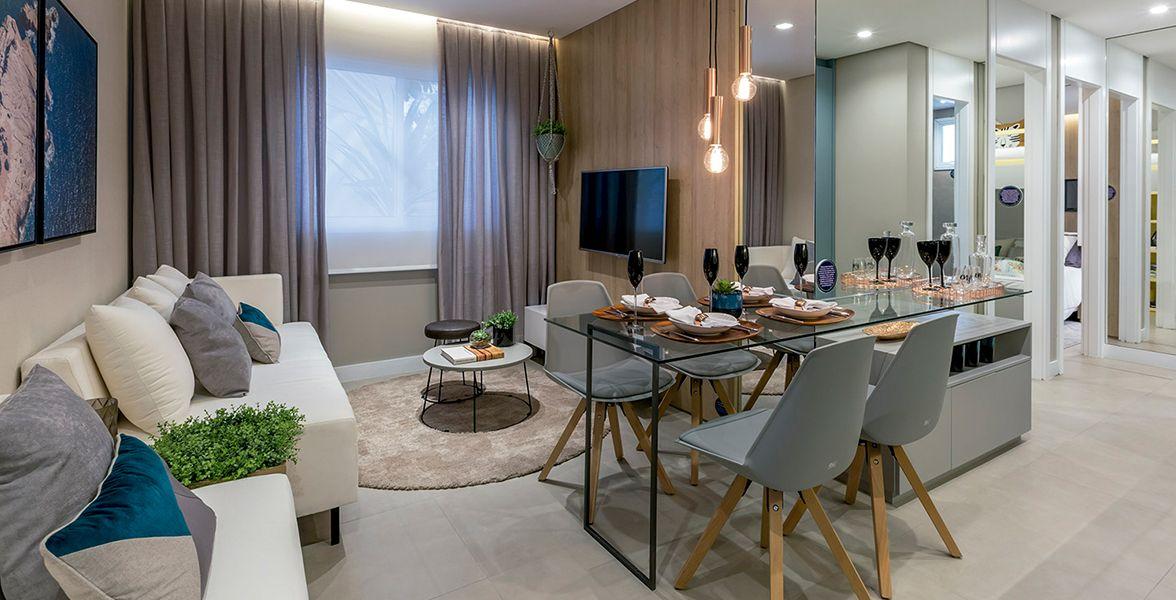 LIVING do apto decorado de 40 m².