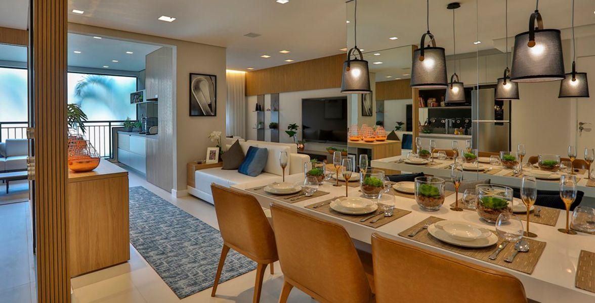 LIVING do apto de 83 m² do Living Clássico