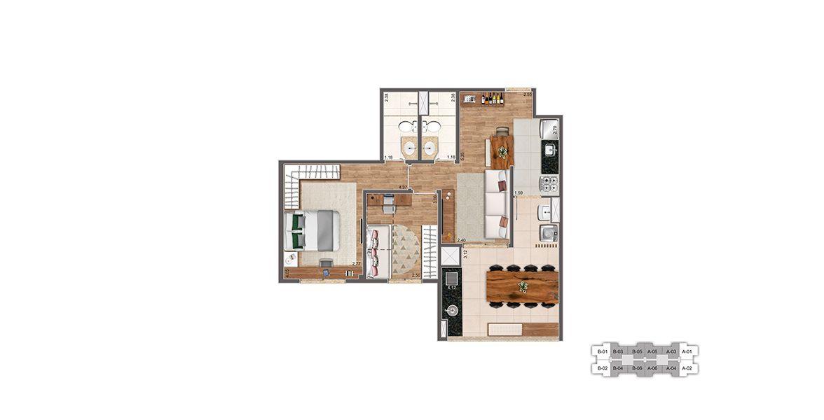 Planta do Living Clássico. floorplan