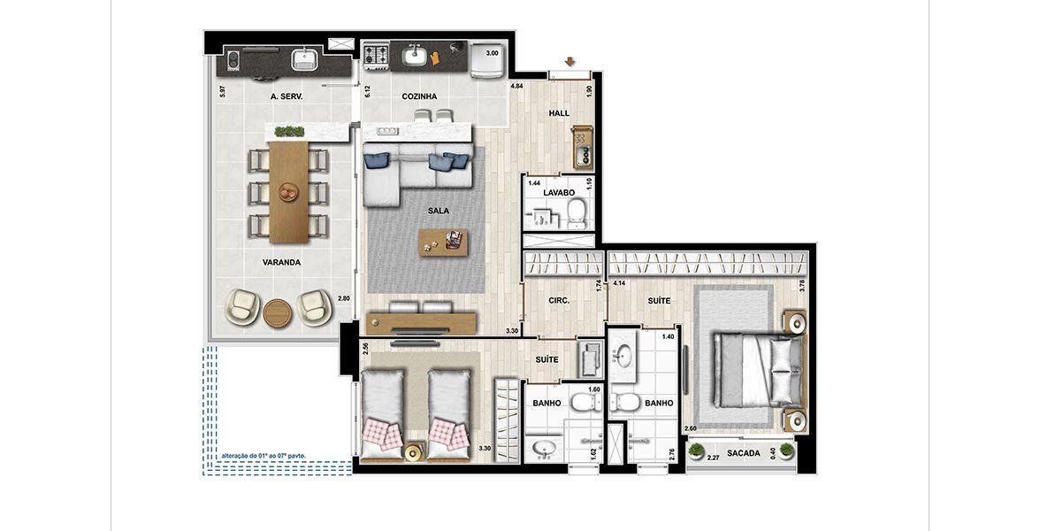 85 M² - 2 SUÍTES. Apartamentos na Vila Mariana, com 2 suítes, amplo terraço com quase 6 metros de frente, totalmente integrado ao living, proporcionado ampla área social.