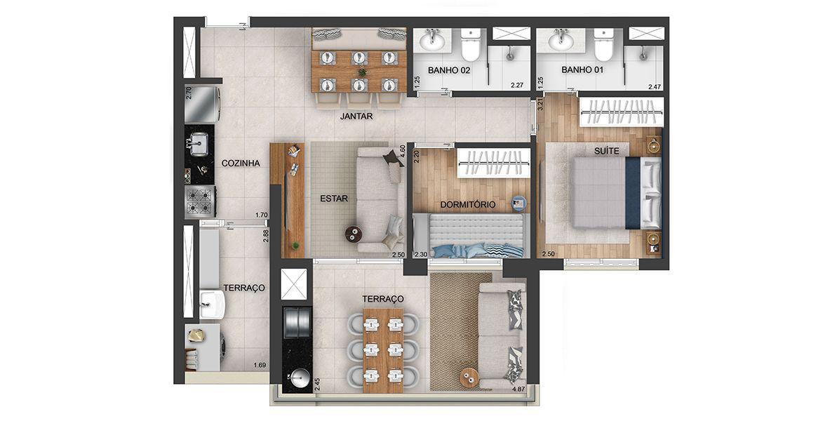 66 M² - 2 DORMITÓRIOS, SENDO 1 SUÍTE. Apartamentos no Belém, com amplo terraço gourmet entregue com bancada de granito, cuba e churrasqueira a carvão. Destaque para o terraço com ampla área social.