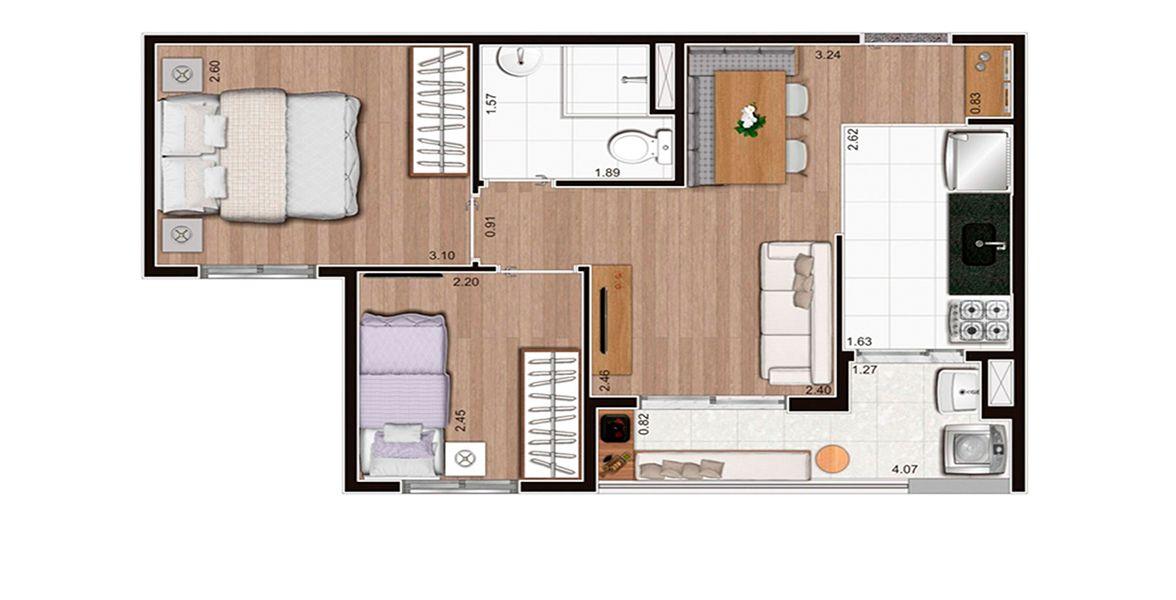Planta do App Vila Prudente. floorplan