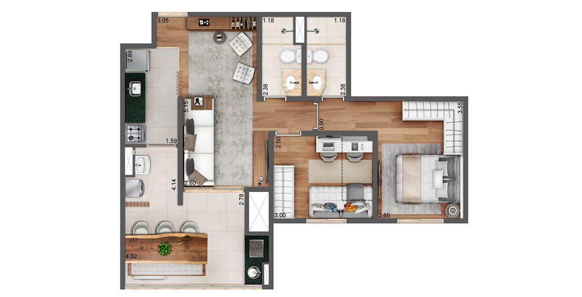 Planta do Nord View. 64 M² - 2 DORMITÓRIOS, SENDO 1 SUÍTE. Apartamentos de 2 dormitórios, em Santana, com living integrado ao terraço gourmet com churrasqueira. Apto entregue com piso laminado, infra para ar-condicionado nos dormitórios.