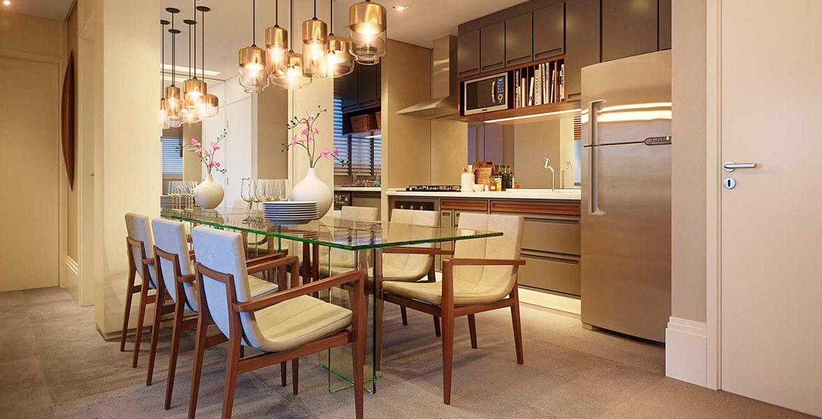 SALA DE JANTAR do apto de 65 m² com espaço para mesa de 6 lugares. A cozinha, que se conecta à área de jantar, possui infra para água aquecida nas torneiras.
