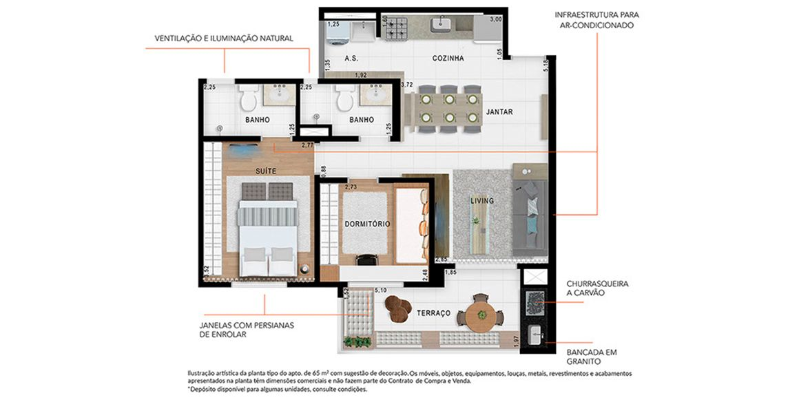 Planta do Guest Saúde. floorplan