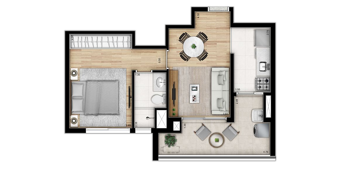40 M² - 1 SUÍTE. Apartamentos na Bela Vista, com destaque para integração entre o living e terraço, proporcionando maior área social, para você receber seus amigos.