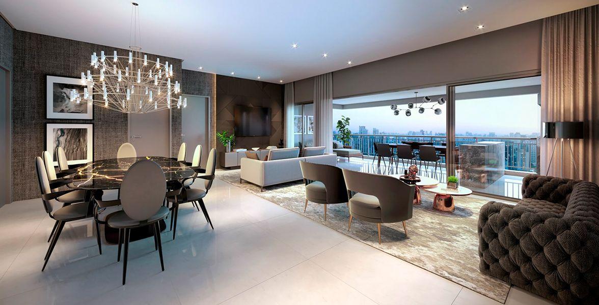 LIVING ampliado do apto de 161 m² com pé-direito, lavabo, integrado ao terraço.