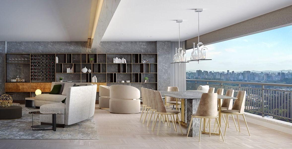 LIVING do apto de 244 m² com pé-direito, 8 metros de boca de sala, integrado ao terraço.