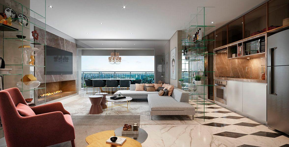 LIVING do apto de 77 m² com lareira, pé-direito de 2,85m, integrado ao terraço e a cozinha.