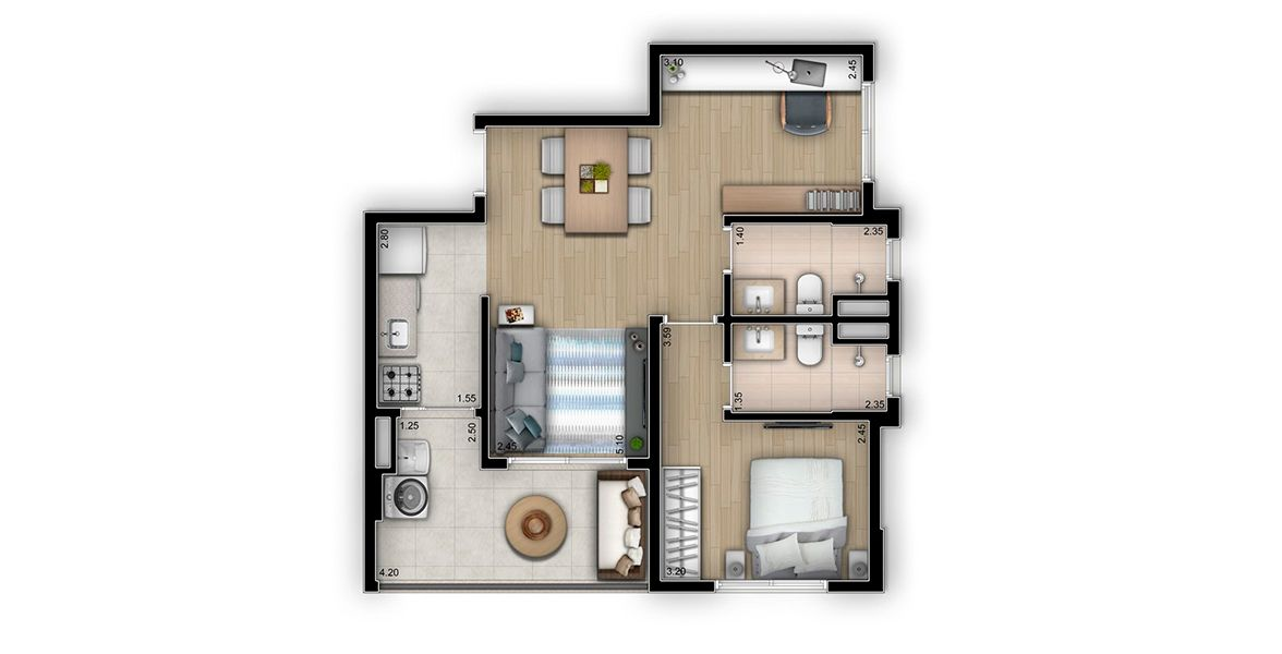 Planta do Thera Ibirapuera By Yoo Apartaments. floorplan