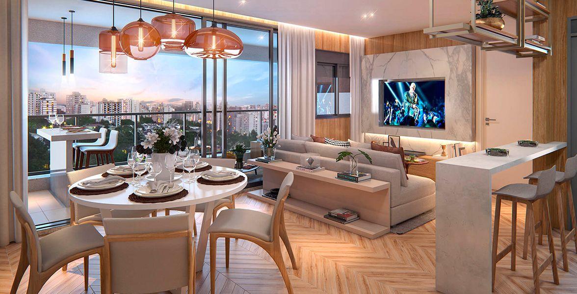 LIVING do apto de 74 m² com quase 5 metros de boca de sala, integrado ao terraço gourmet e a cozinha americana. Conta com lavabo de apoio do Viso Moema