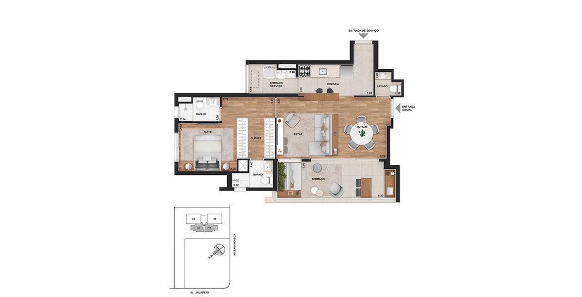 """Planta do Viso Moema. 74 M² - 1 SUÍTE. Apartamentos em Moema, com destaque para suíte, com opção de planta banheiro """"sr. e sra"""" e closet."""