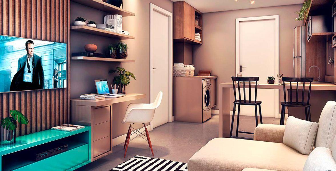 LIVING do apto de 24 m².