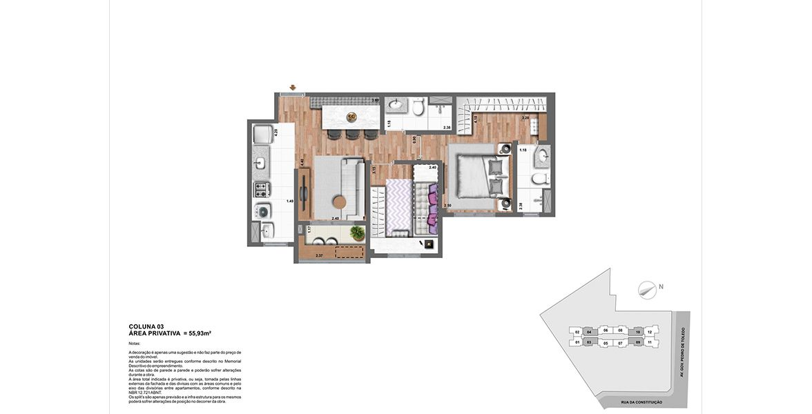 Planta do Living Vision. floorplan