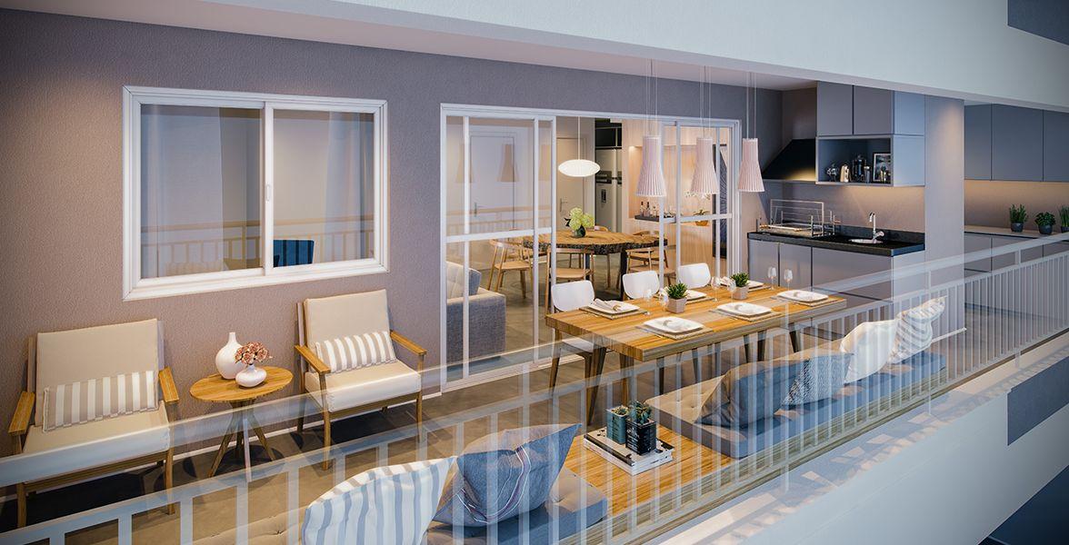 TERRAÇO gourmet do apto de 129 m² com churrasqueira a carvão, integrado ao living e a área de serviço.