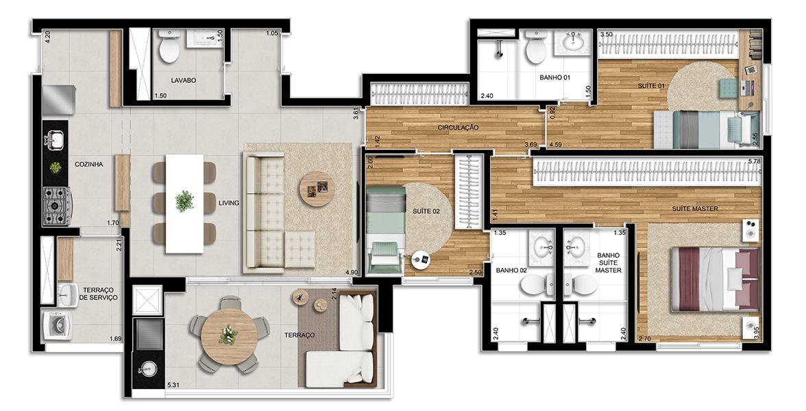 """105 M² - 3 SUÍTES. Apartamentos no Tatuapé, com 3 suítes, terraço gourmet com churrasqueira a carvão integrado ao living. Destaque para """"passagem íntima"""" nos dormitórios, separando a área social."""