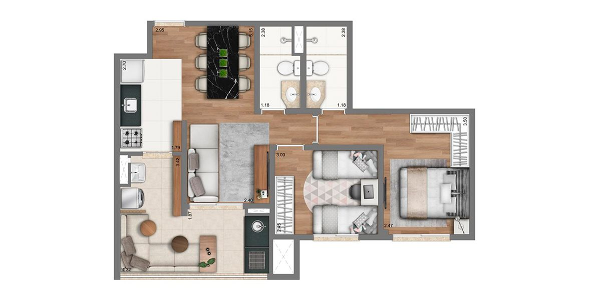 Planta do Living Exclusive Tucuruvi. floorplan