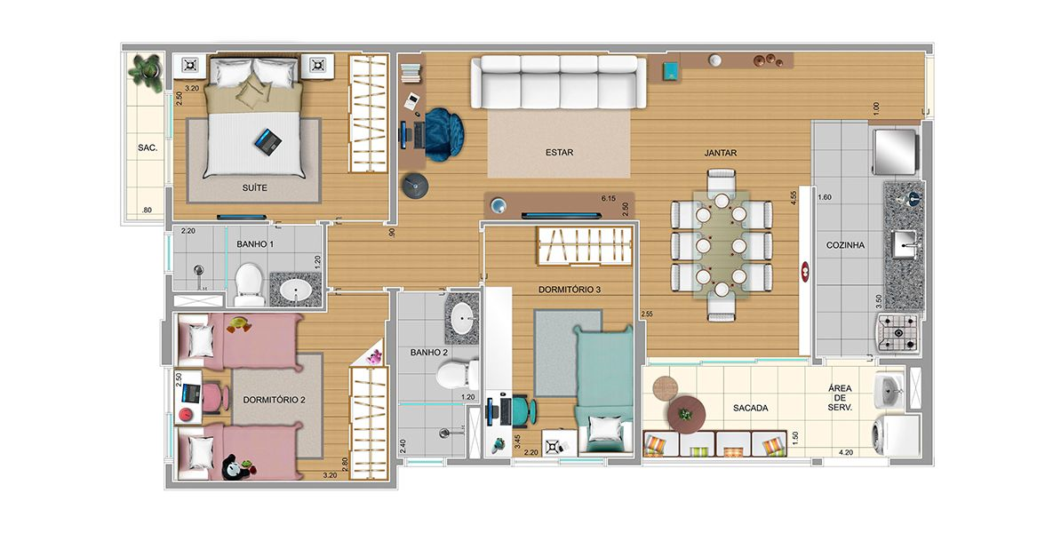 Planta do Residencial Brecheret. floorplan