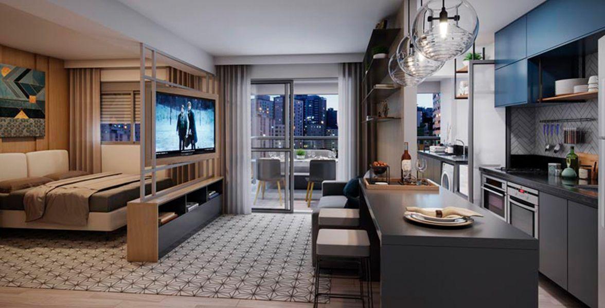 LIVING ampliado do apto de 49 m² com opção de studio, integrado a cozinha americana e ao terraço.