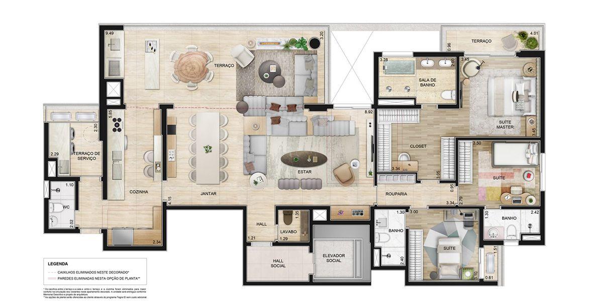 Planta do Il Faro. 195 M² - 3 SUÍTES. Apartamentos no Morumbi, de 3 suítes, com destaque para suíte master com closet, banheiro sr. e sra com banheira e terraço intimo.