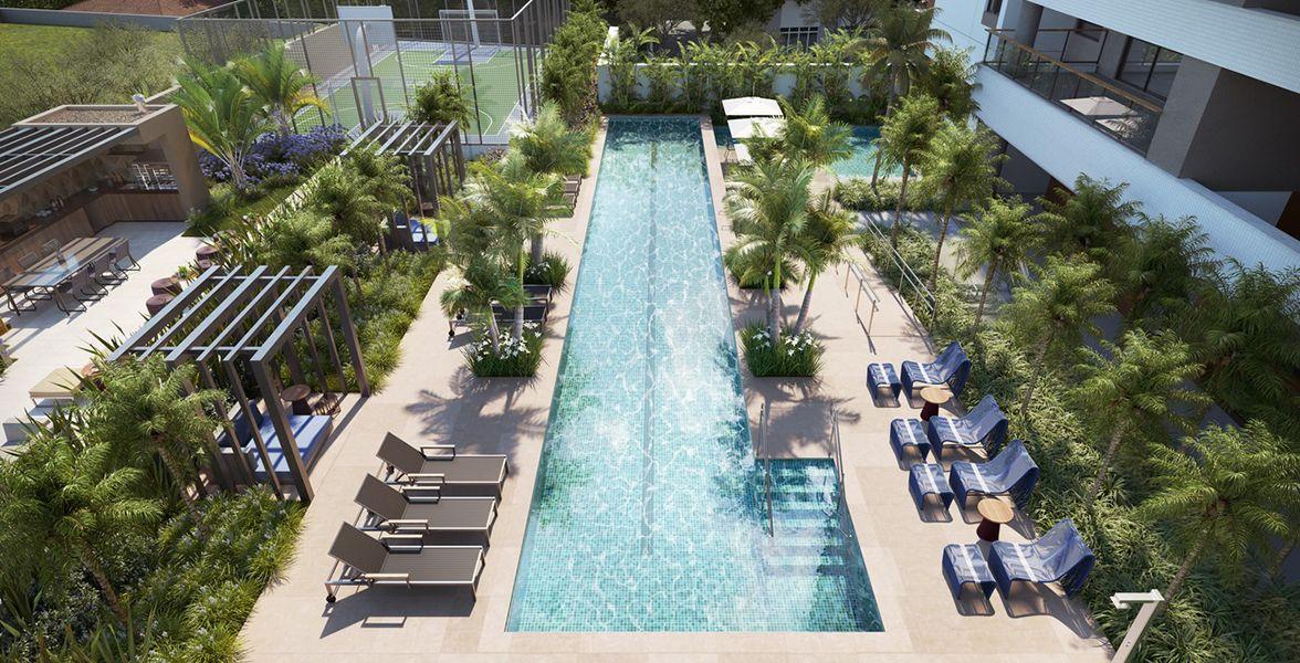 VISTA AÉREA - LAZER do Il Faro, com piscina adulto e infantil, deck, solarium, bangalôs de descanso, churrasqueira e quadra recreativa.