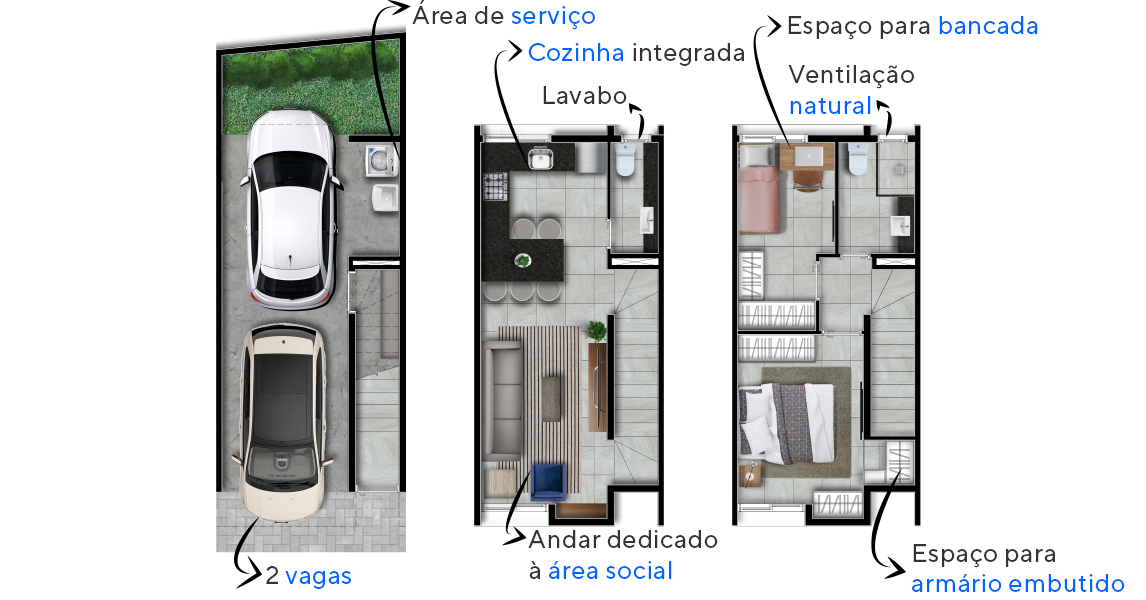 112 M² - 2 SUÍTES. Casas no Brooklin com cozinha integrada ao living, criando uma ampla área para convivência. As áreas sociais, dormitórios e banheiro serão entregues com piso em porcelanato.