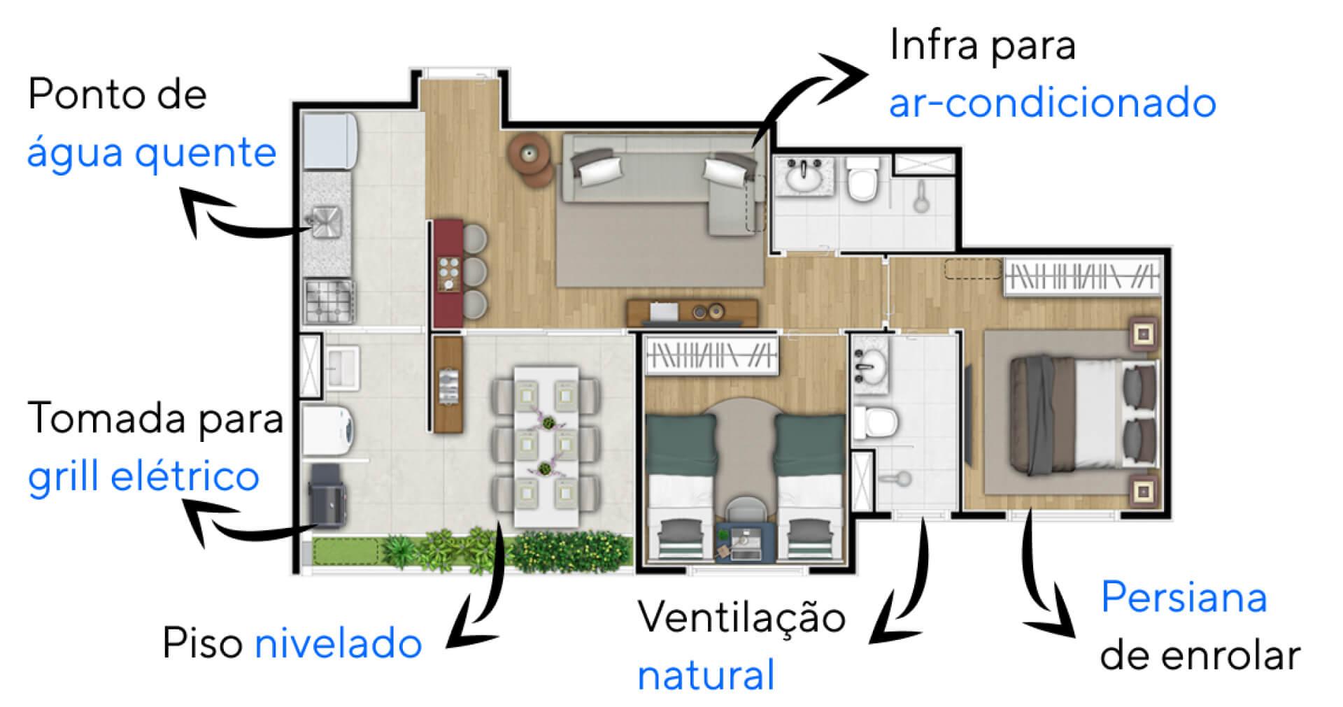 58 M² - 2 DORMITÓRIOS, SENDO 1 SUÍTE. Apartamentos no Jardim Prudência com planta flexível que permite a remoção da parede que separa o living da cozinha. Conta com infra para ar-condicionado, persiana de enrolar, ponto de água quente na cozinha e mais.