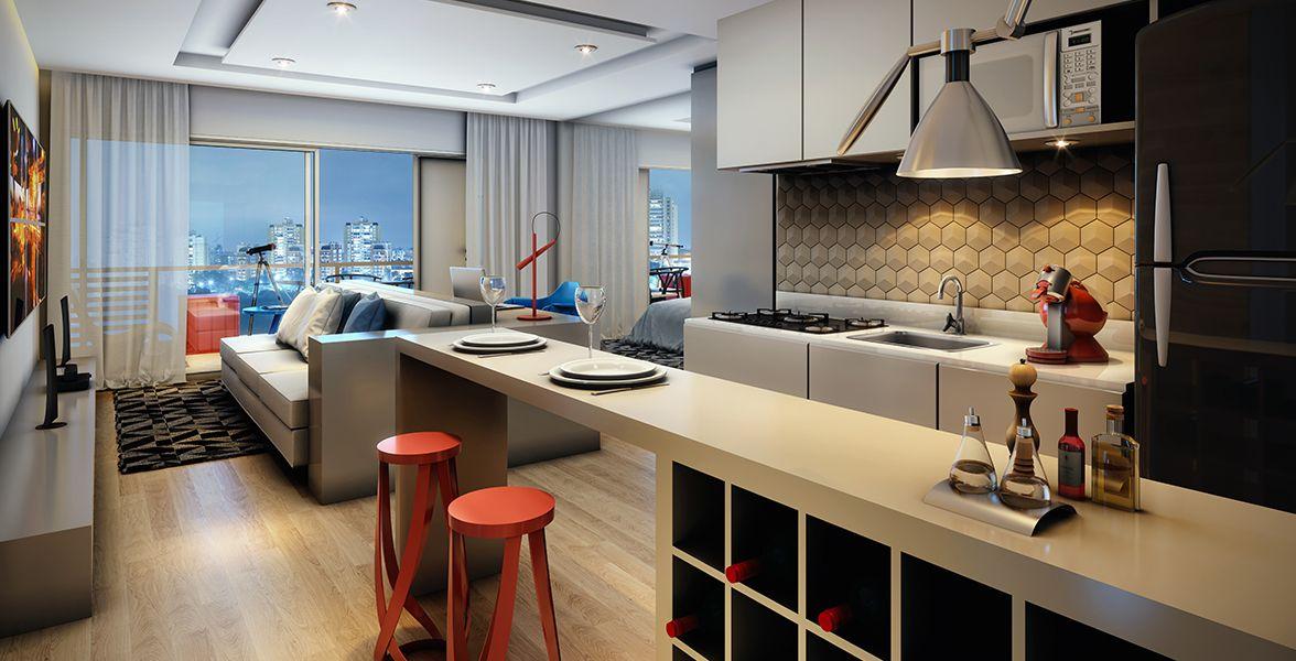 LIVING E COZINHA studio de 47 m².