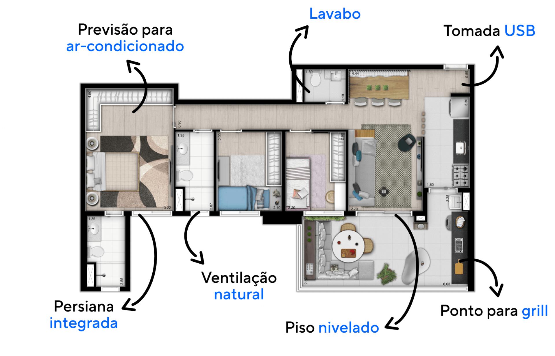 94 M² - 3 DORMITÓRIOS, SENDO 1 SUÍTE. Apartamentos no Tatuapé com boa setorização entre os espaços sociais e íntimos, proporcionando privacidade quando necessário. A cozinha possui uma passagem direta para o terraço, proporcionando uma conexão direta.